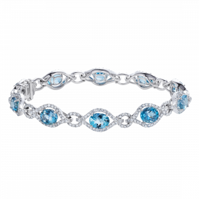 Regal Aquamarine and Diamond Bracelet