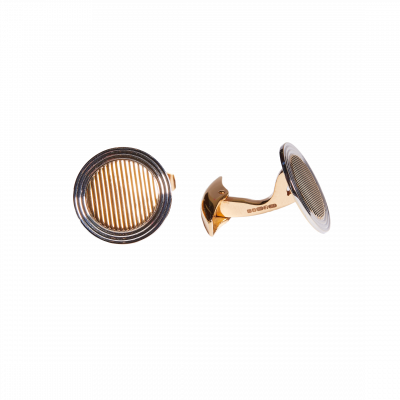 Two Tone Engine Turned Cufflinks