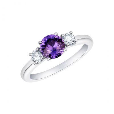 Trilogy Colour-change Purple Sapphire Ring