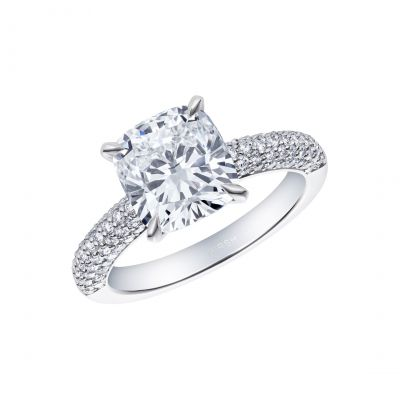 Reflection Cushion Cut Ring with Pavé Shoulders