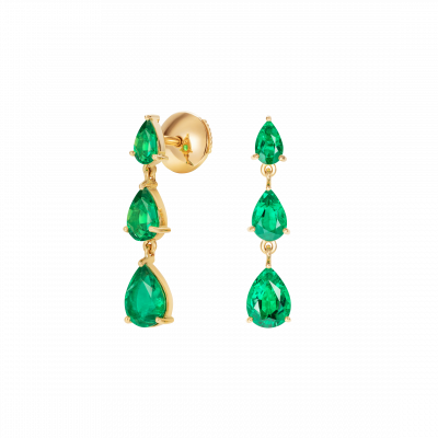 Trilogy Pear Shape Emerald Earrings
