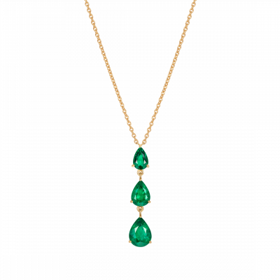 Trilogy Pear Shape Emerald Pendant