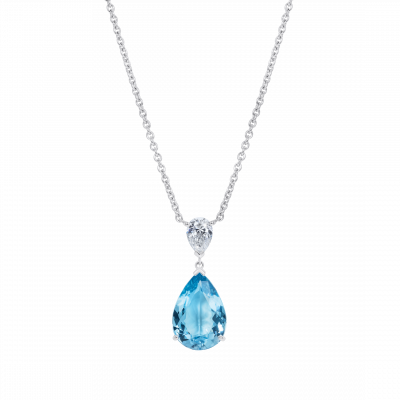 Wallace Aquamarine and Diamond Pendant