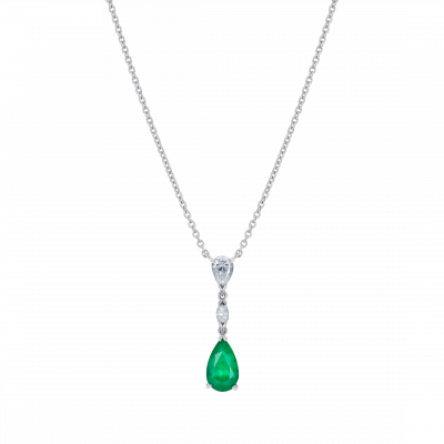 Grafton Emerald and Diamond Drop Pendant