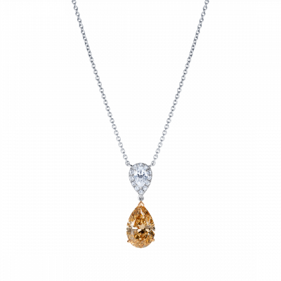 Burlington Peach Diamond and White Diamond Pendant