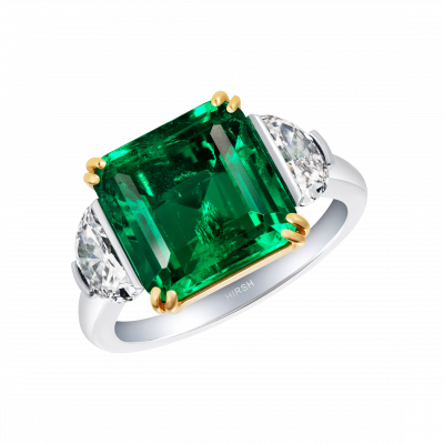 Extremely Rare Colombian Emerald Trio Ring