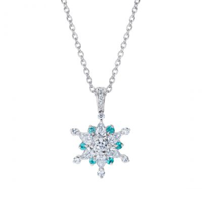 Snowflake Pendant set with Paraíba Tourmalines and Diamonds