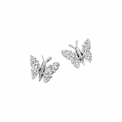 White Gold Flutter Earrings