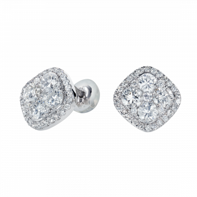 Regal Diamond Cluster Earrings