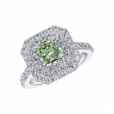 Green Diamond Double Halo Regal Ring