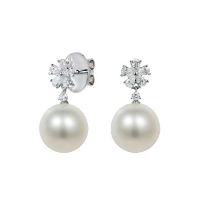 Beauchamp White Pearl and Diamond Earrings
