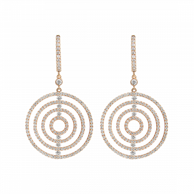 Large Rose Gold Diamond Saturn Drop Earrings