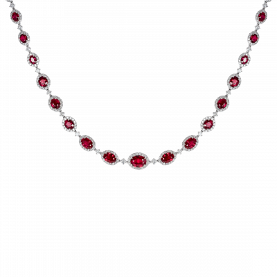 Regal Ruby and Diamond Necklace