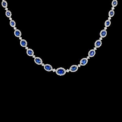Regal Sapphire and Diamond Necklace