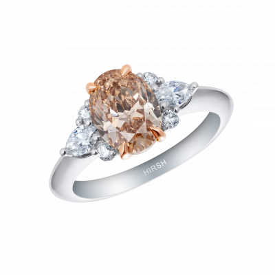Papillon Peach Diamond and Diamond Ring