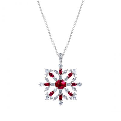 Snowflake Pendant set with Rubies and Diamonds