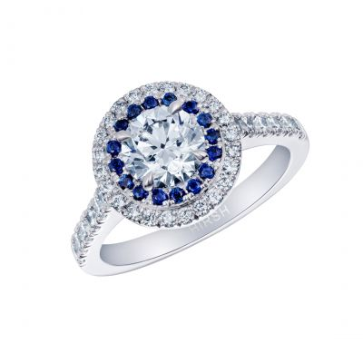 Diamond and Sapphire Double Halo Regal Ring