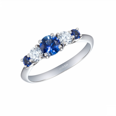 Cinq Sapphire and Diamond Ring