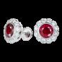 Carnation Ruby and Diamond Earrings