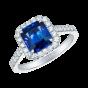 Regal Ring set with a cushion cut sapphire