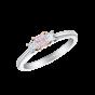 Trilogy ring set with a purplish pink diamond