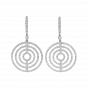 Large White Gold Diamond Saturn Drop Earrings
