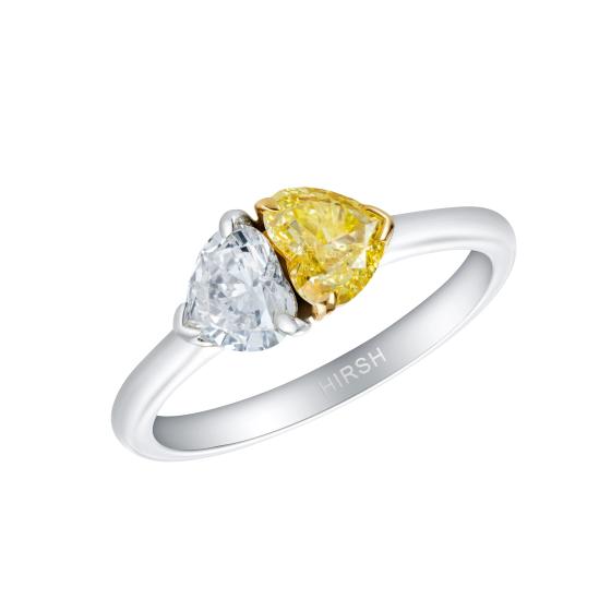 Duet Yellow and White Heart Shape Diamond Ring