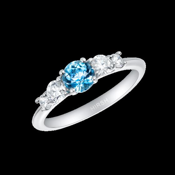 Cinq Aquamarine and Diamond Ring
