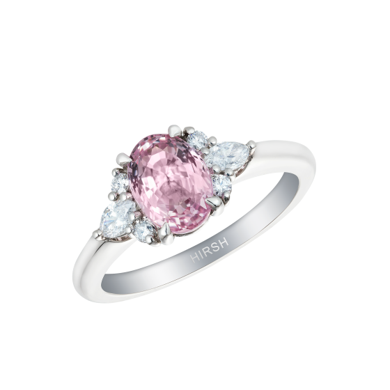 Papillon Ring set with an oval cut Padparadscha and diamonds