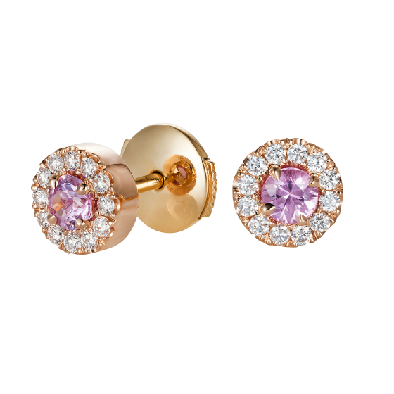 Regal Pink Sapphire and Diamond Earrings