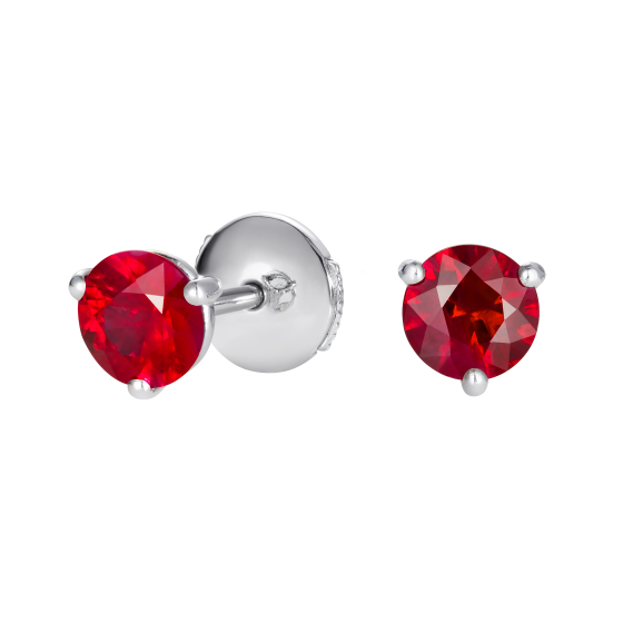 Solitaire Ruby Stud Earrings