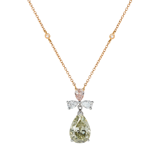Bow Pendant with Extremely Rare Chameleon, Pink and White Diamonds