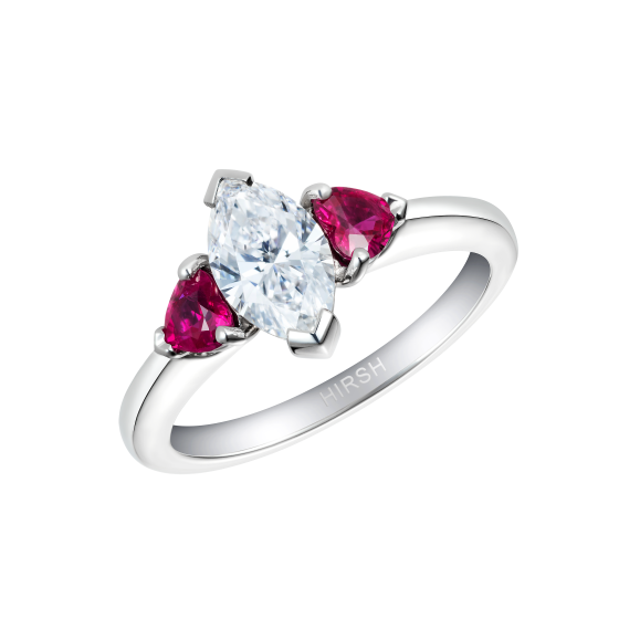 Trio Diamond and Heart Shape Ruby Ring