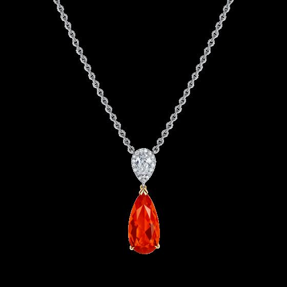 Burlington Fire Opal and Diamond Pendant