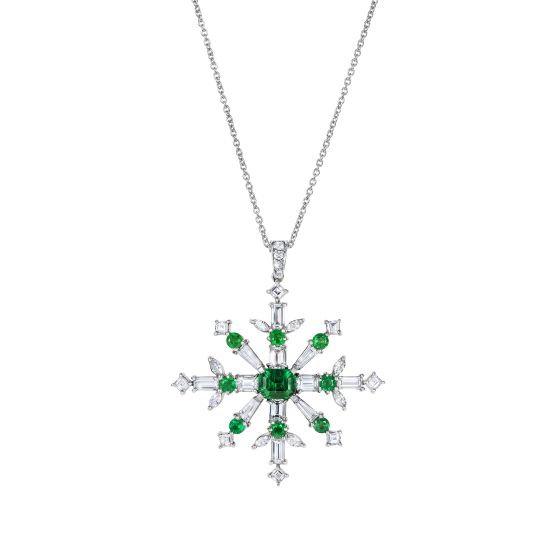 Snowflake Pendant set with Emeralds and Diamonds