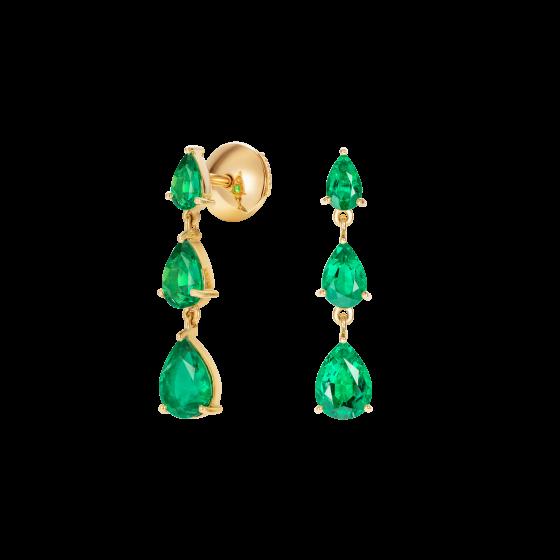 Trilogy Pear Shape Emerald Earrings