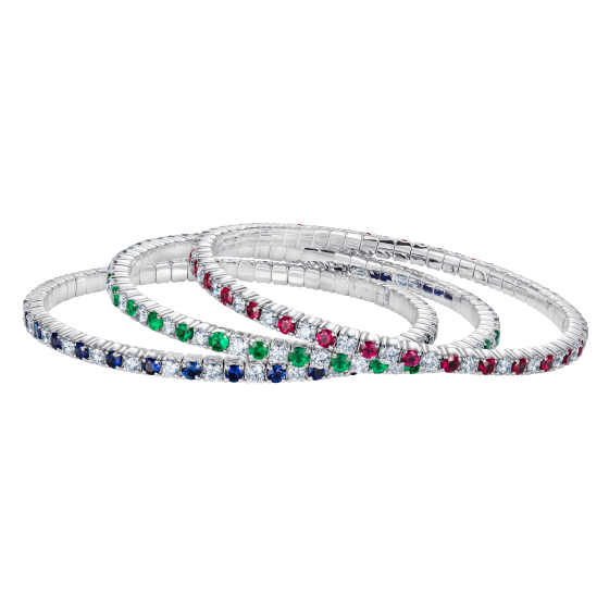 Large Advantage Bracelet Set in Alternating Sapphire, Emerald and Ruby with Diamonds