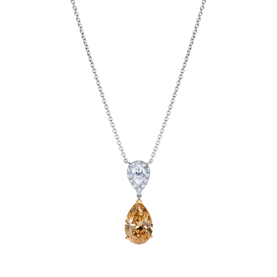 Burlington Peach Diamond and White Diamond Pendant