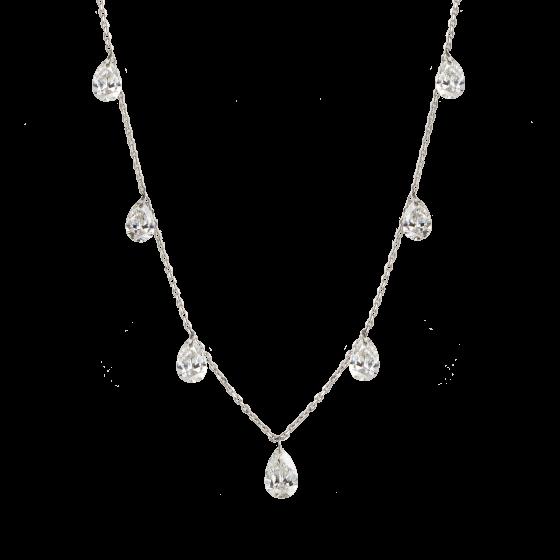 Pear Cut Diamond Suspense Necklace