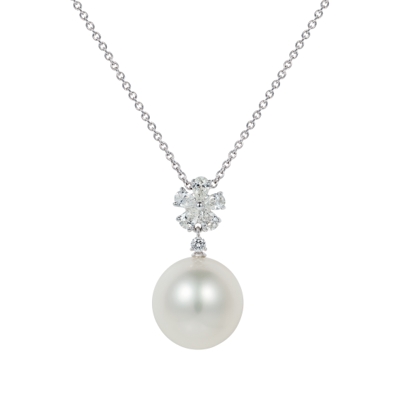Beauchamp White Pearl and Diamond Pendant