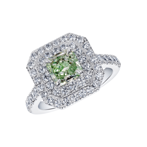 Green Diamond Double Halo Regal Ring