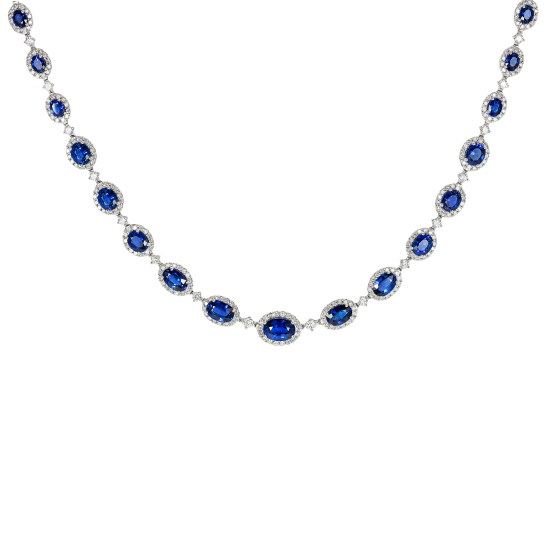 Regal Sapphire and Diamond Necklace