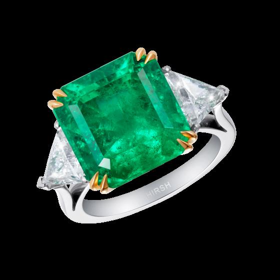 Emerald and Diamond Trio Ring