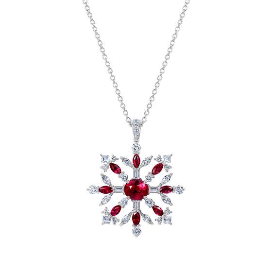 Snowflake Pendant set with Rubies and Diamonds
