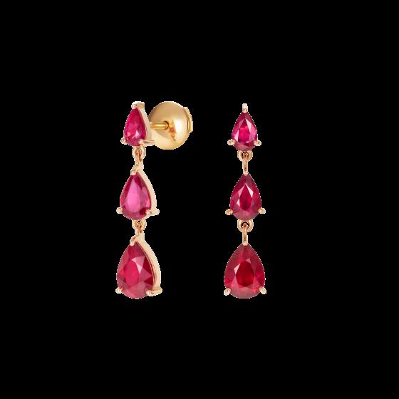 Trilogy Pear Shape Ruby Earrings