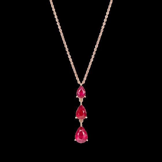 Trilogy Pear Shape Ruby Pendant