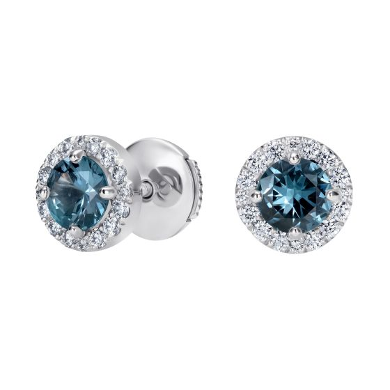 Regal Blue Spinel and Diamond Earrings