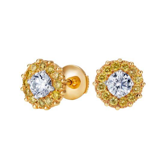Floral Diamond and Yellow Diamond Earrings