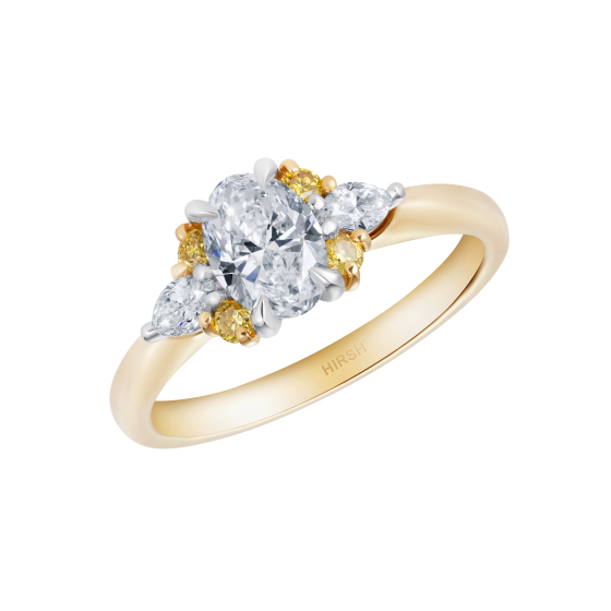Papillon Diamond and Yellow Diamond Ring