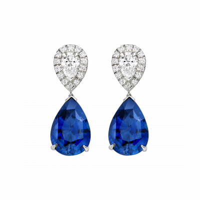 burlington royal blue sapphire and diamond earrings